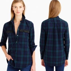 J. Crew beaded chevron popover shirt in plaid